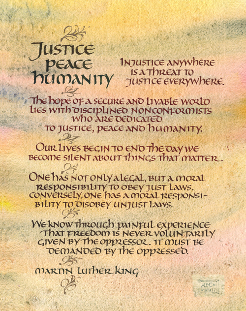 Lettering Justice Peace Humanity
