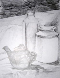 Drawing Teapot and tins