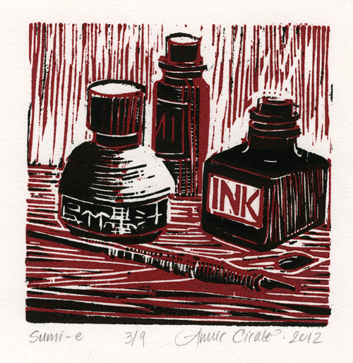 Printmaking Sumi Relief Print